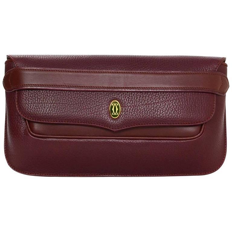 Cartier Burgundy Leather Vintage Envelope Clutch Bag GHW 1