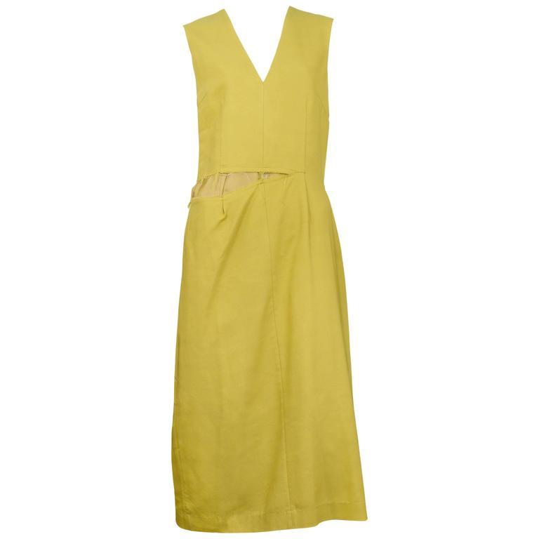 Martin Margiela Mustard Ripped Dress 2003 For Sale