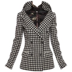 Jean Paul Gaultier Wool Buffalo Check & Embroidered Satin Jacket, Fall 2010