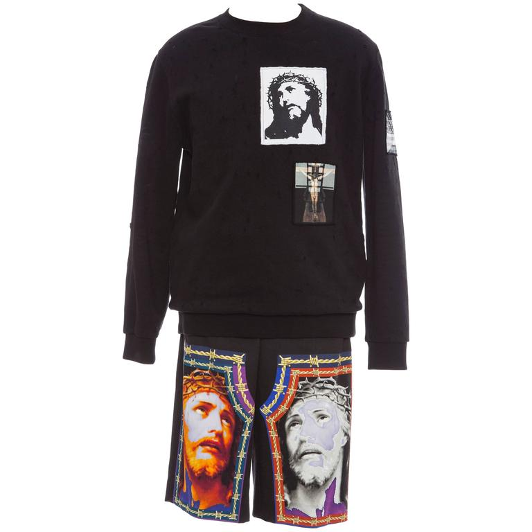 Givenchy Riccardo Tisci Men's Printed Cotton Sweatshirt & Shorts, Spring 2016