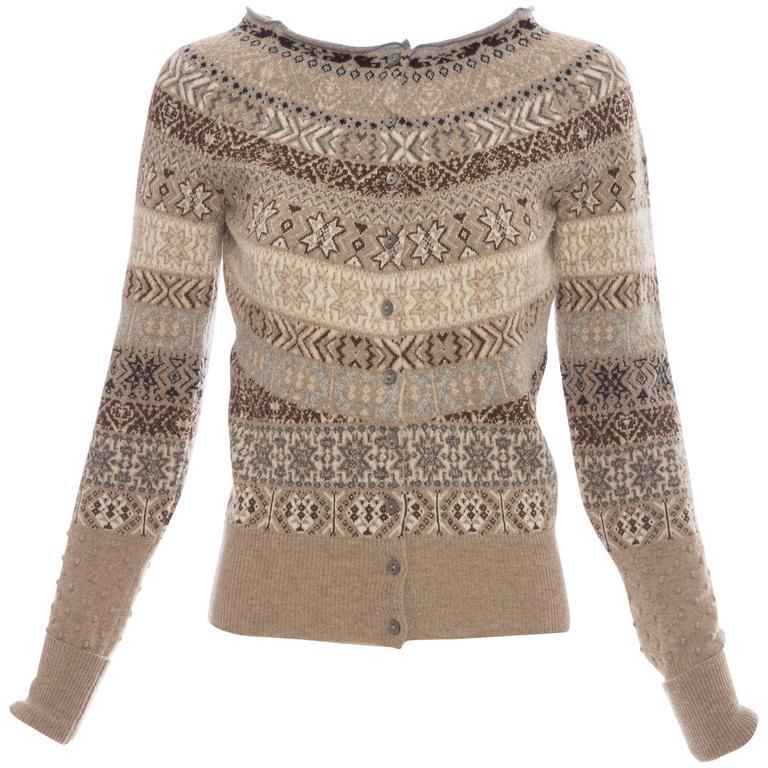 Alexander McQueen Wool Cardigan With Bateau Neckline, Autumn - Winter 2005 For Sale