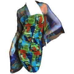 Roberto Cavalli Silk Chiffon Parrot Feather Print Jeweled Mini Dress New w Tags