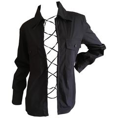 Yves Saint Laurent Black Lace Up Safari Shirt by Tom Ford