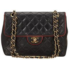 Chanel Black Quilted Lambskin Chain Flap Shoulder Bag