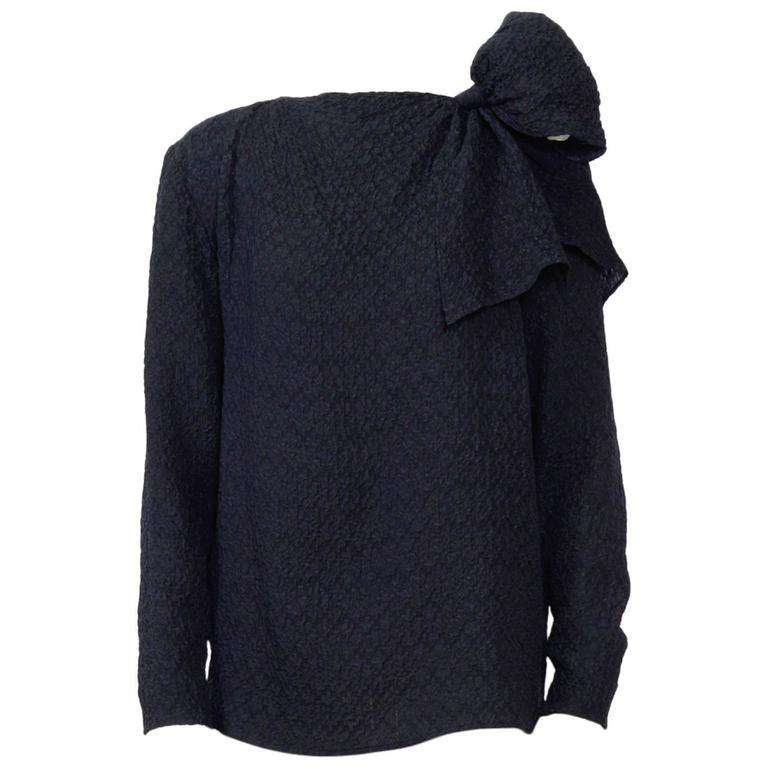 Vintage 1970s Yves saint Laurent black silk blouse For Sale