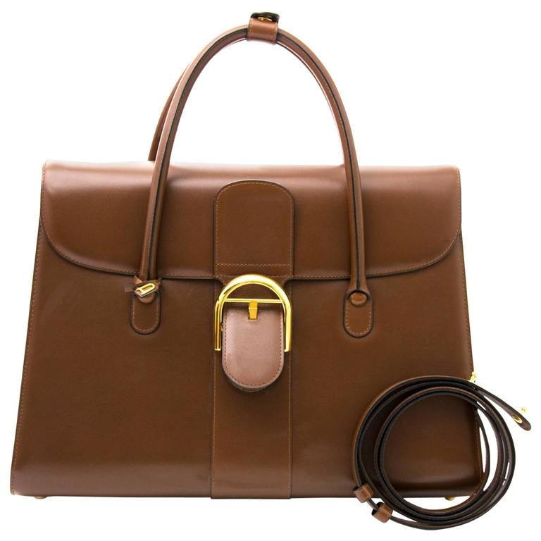 Delvaux Brown Double Poignée Brillant Bag For