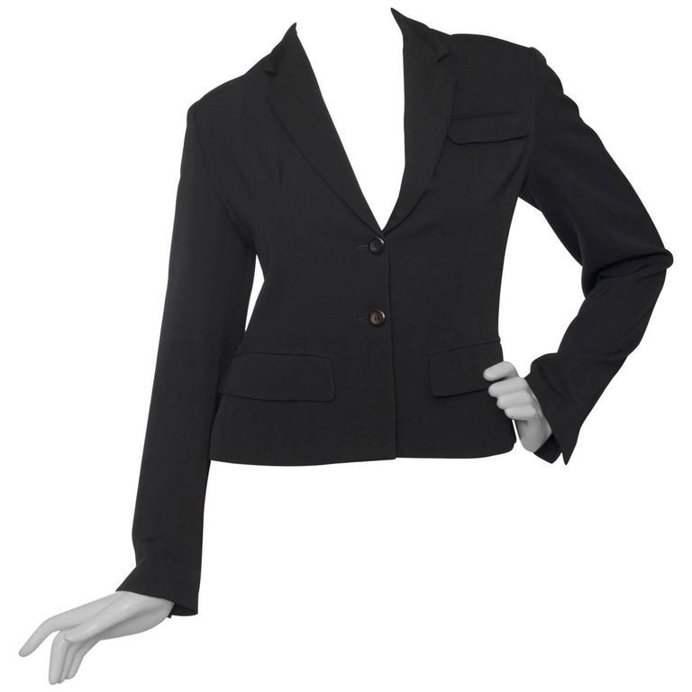 A Classic 90s Black Cropped Alaia Blazer For Sale
