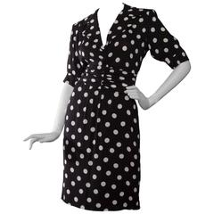 80s Yves Saint Laurent Rive gauche Black & White Polkadot Silk Dress