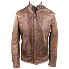 SCHOTT S Distressed Brown Leather Motorcycle Jacket