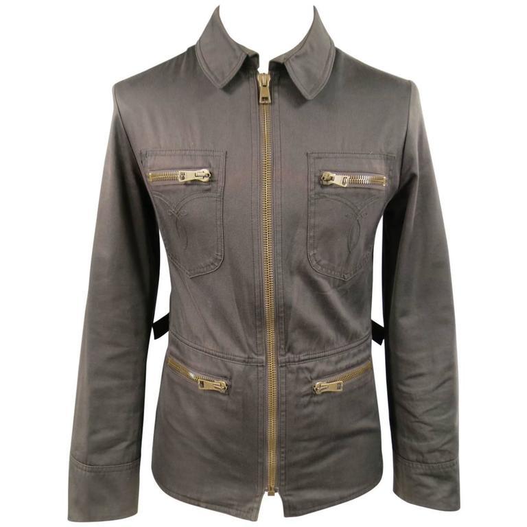 Gucci Men's 38 Brown Cotton Collared Zip Pocket Utility Jacket