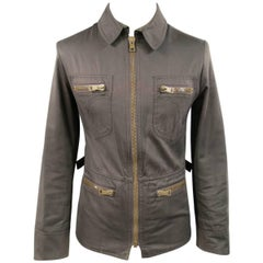 Gucci Men's 38 Brown Cotton Collared Zip Pocket Utility Jacket