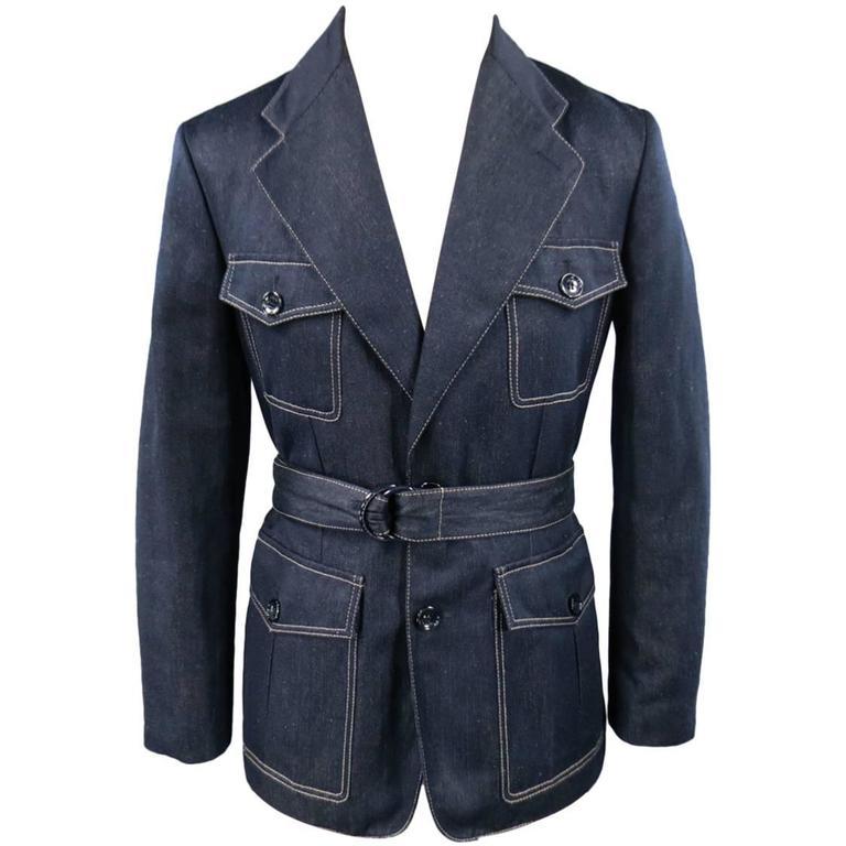 Men's LOUIS VUITTON Sport Coat -  Size 38 Navy Silk / Linen Denim Safari