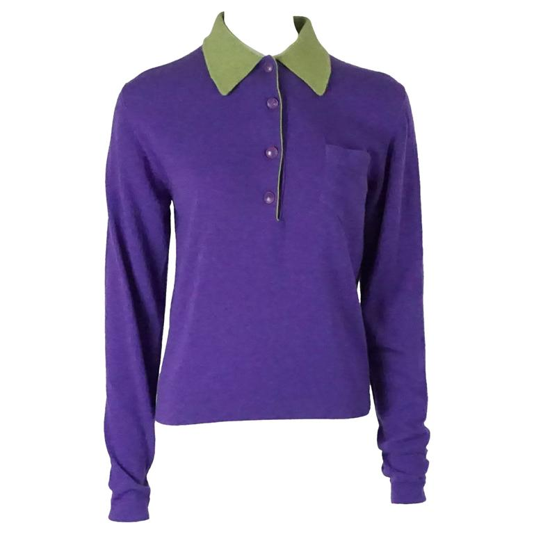Hermes Vintage Purple Cashmere Sweater with Green Collar - L - 1970's 1