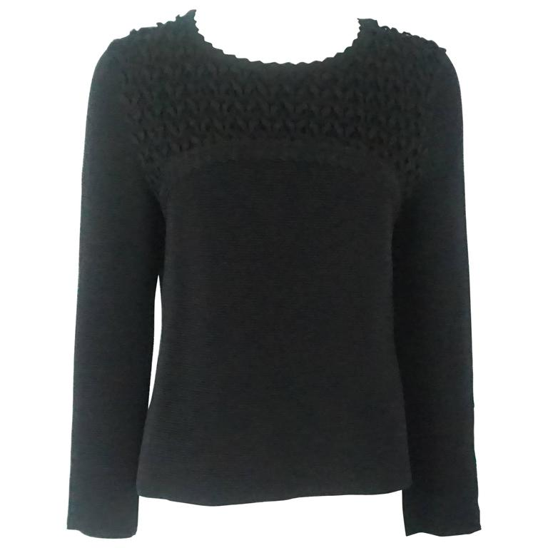 Chanel Black Wool Blend Ribbed Sweater Top - 40