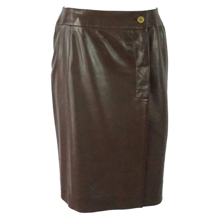 Chanel Brown Lambskin Wrap Skirt - 40 - 01A 1