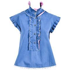 Chanel 07C Blue Pink Cotton Denim Ruffle Frayed Edge Button Up A Line Top SZ 42