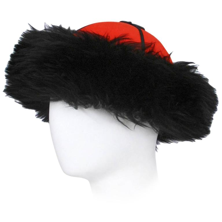 Yves Saint Laurent Wool & Fur Russian Hat 1976