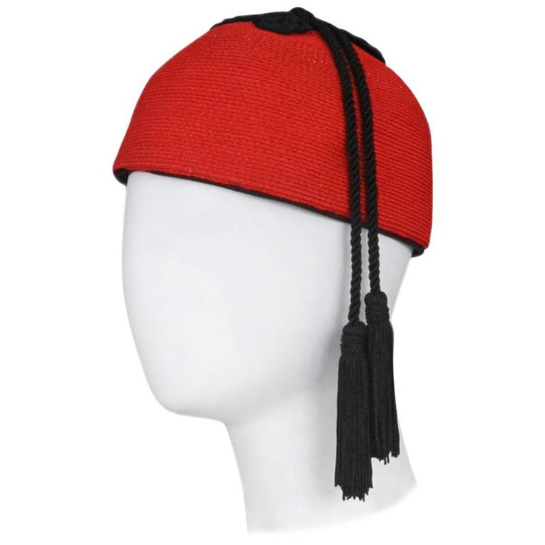 86529a127c8 Yves Saint Laurent Red Raffia and Tassel Hat 1976 For Sale at 1stdibs