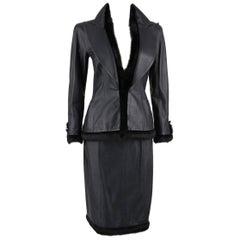 CHANEL 2 Pc Black Lambskin Leather Fur Trim Blazer Skirt Suit Set SZ 38 / 40 02A
