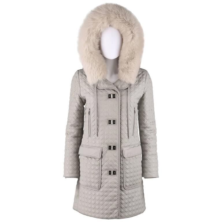 CHRISTIAN DIOR Gray Lady Dior Quilted Hooded Coat Genuine Fox Fur Trim Size 38