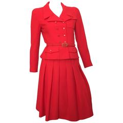Chanel Red Suit Jacket & Pleated Skirt Size 4.