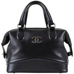 "CHANEL Black Calf Leather ""Country Ride"" Bowler Doctor Satchel Handbag Rare"
