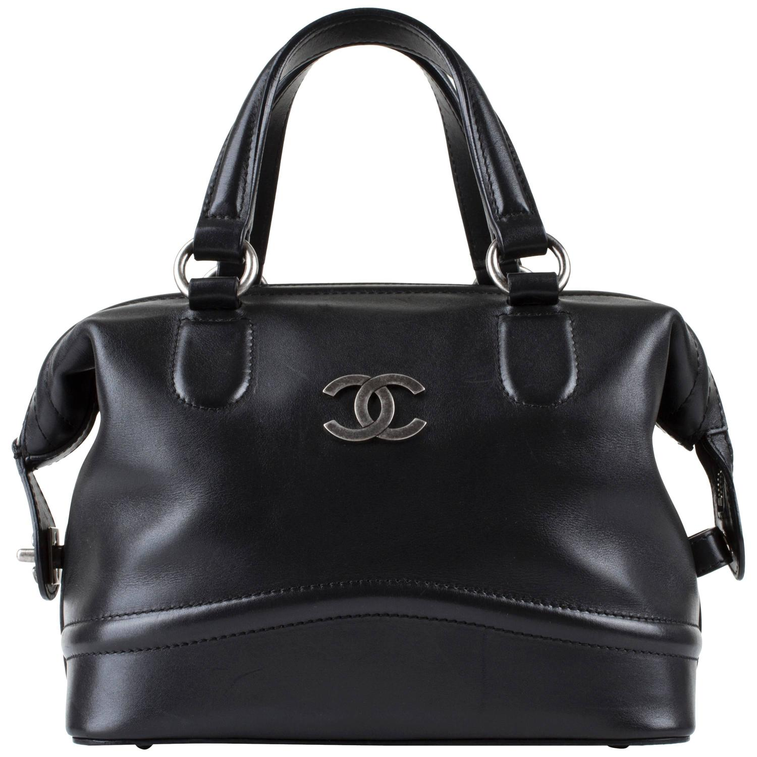 Chanel Black Calf Leather Country Ride Bowler Doctor Satchel Bowling Handbag Rare For Sale At 1stdibs