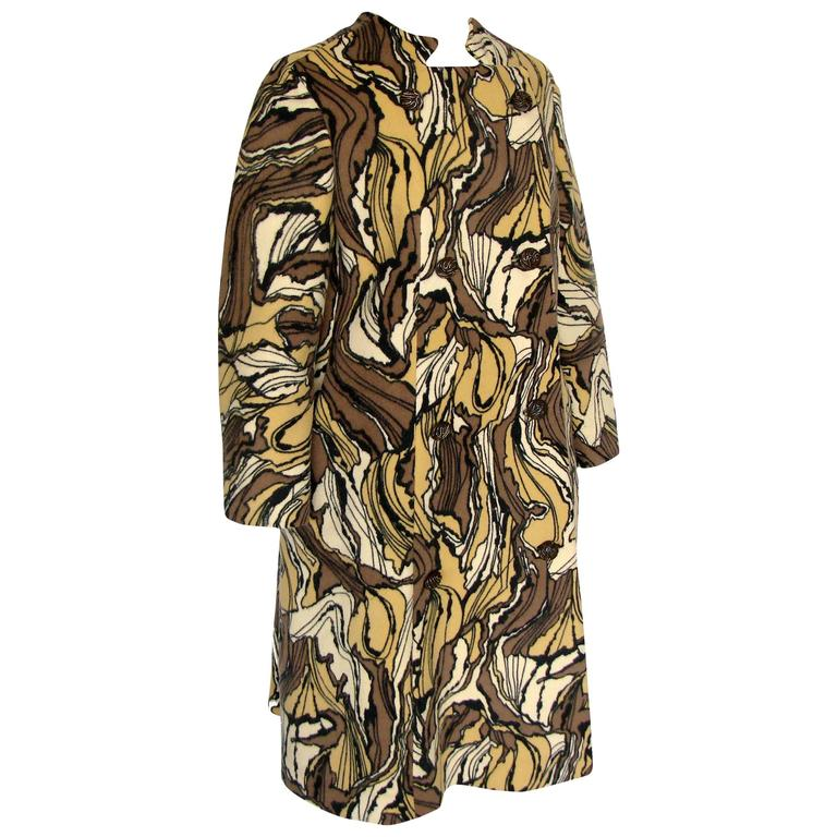 Burke-Amey Wool Couture Coat with Sculptural Collar Abstract Print 60s M Rare  2
