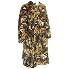 Rare Burke-Amey Wool Coat Sculptural Collar Tzaims Luksus Abstract Print 60s M