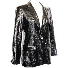 Chanel Evening Jacket Black Sequins with Contrast Cuffs and Collar Sz 44 09C