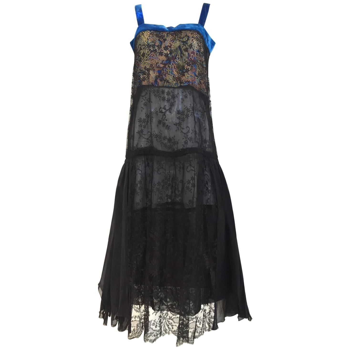 1920s art deco Black lace dress with blue velvet strap