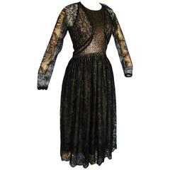 Geoffrey Beene Black Illusion Lace Cocktail Dress + Gold Embroidery Bodice Sz M