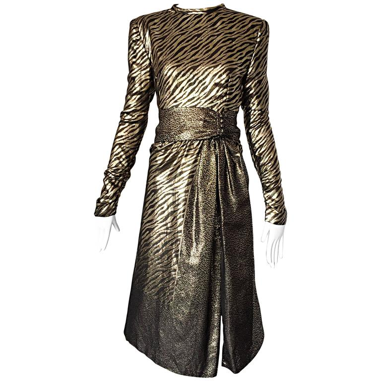 Pauline Trigere Vintage Gold and Black Silk Lame Zebra + Leopard Print Dress
