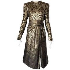 Pauline Trigere Vintage Gold and Black Silk Lame Zebra + Leopard Print Dress