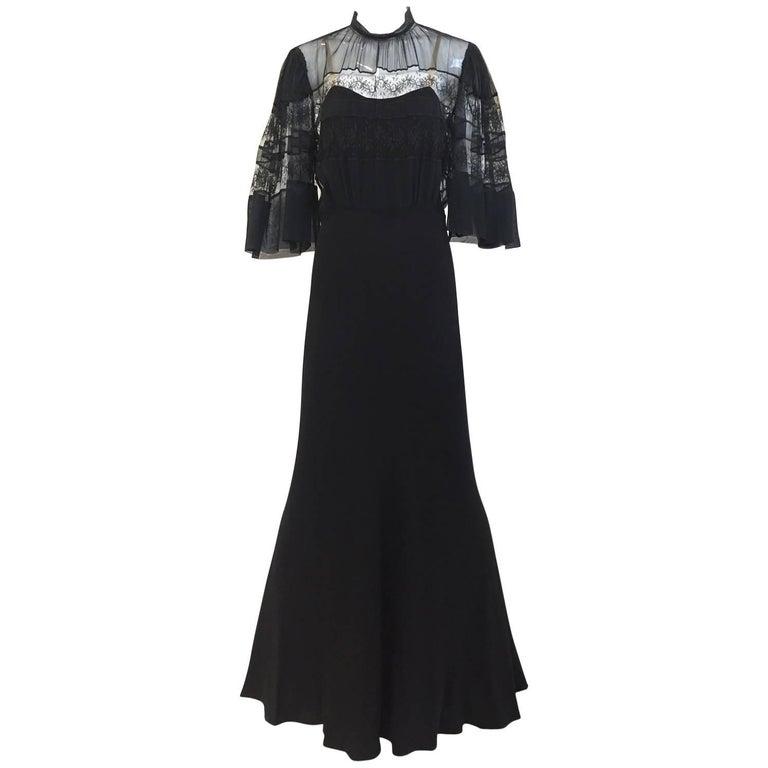 1930s Black crepe dress  For Sale