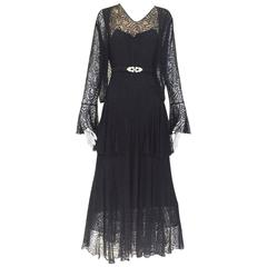 1930s Black lace dress with cardigan jacket and belt ensemble