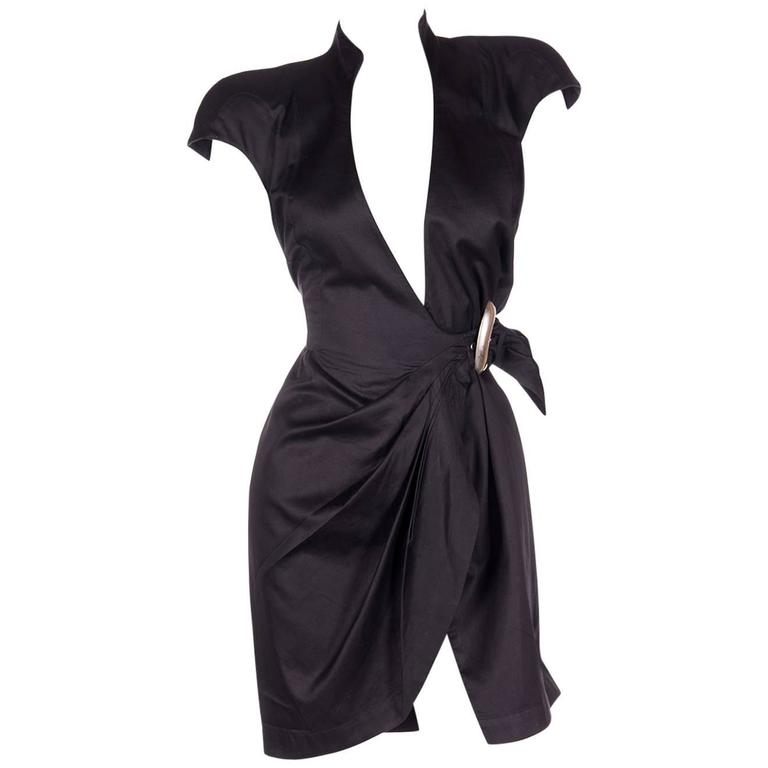 Thierry Mugler Plunging Wrap Dress 1