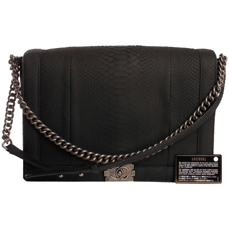 5969772b38fce Chanel Boy Bag XXL Pyhton Leather - black at 1stdibs