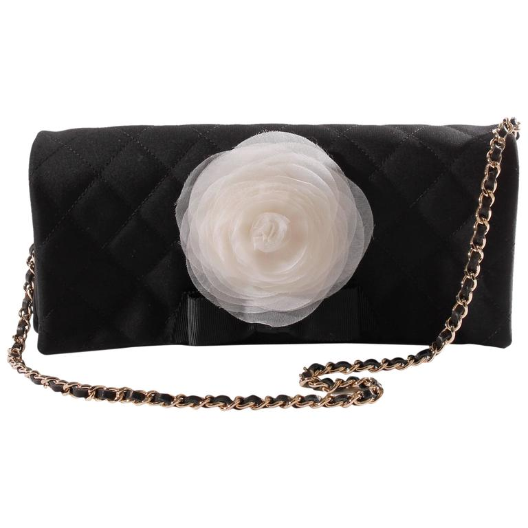 Chanel Satin Camellia Clutch Bag - black/white/silver