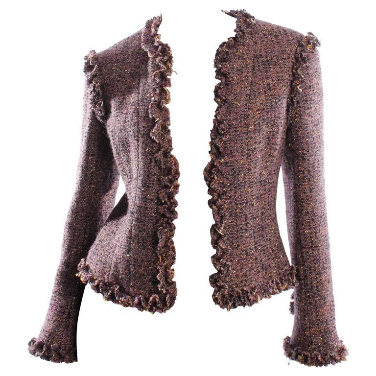 Chanel Jacket Tweed - purple/black/gold