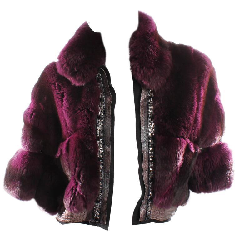 Roberto Cavalli Chinchilla & Python Fur Coat - purple 40th anniversary  1