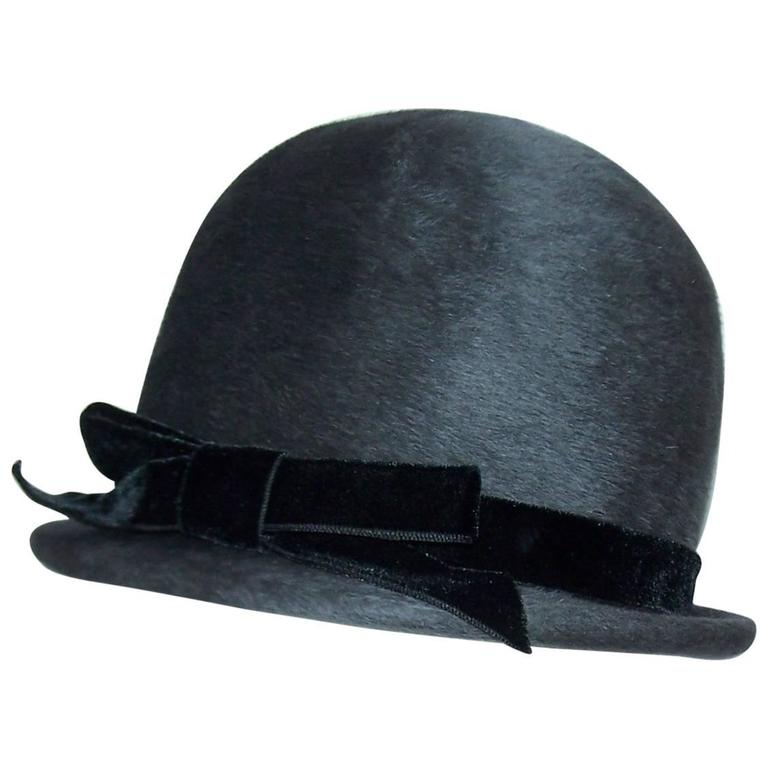 Bobby On the Beat Charcoal Gray 1960's Hat With Velvet Bow For Sale