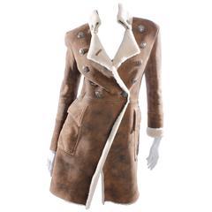 Balmain Coat - dark brown lambskin leather