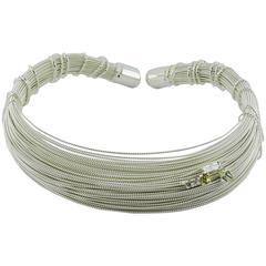 Christian Lacroix Vintage Silver Tone Bundled Wires Rigid Choker Necklace