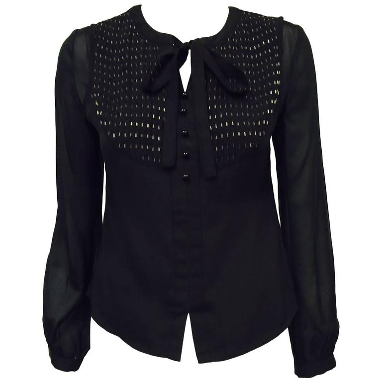 Chloe Black Silk Blouse With Bugle Beaded Bib and Tie