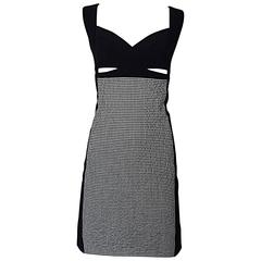 Narcisco Rodriguez Black and White Gingham Cut - Out Runway Dress Size 42 / 6