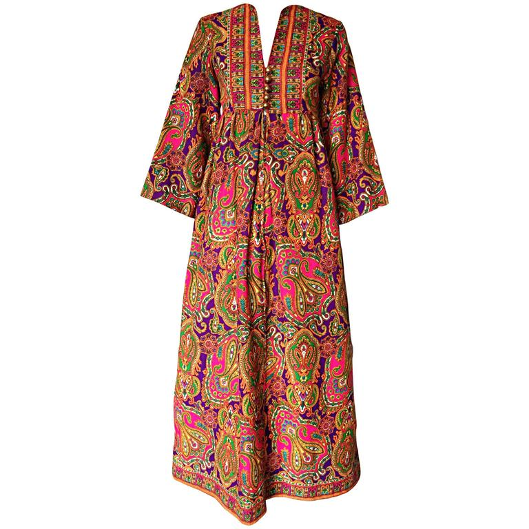 Vintage Joseph Magnin 1970s Psychedelic Paisley 70s Colorful Caftan Maxi Dress