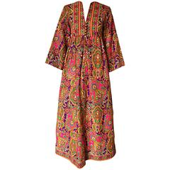 Vintage Joseph Magnin 1970s Psychedelic Paisley 70s Colorful Caftan Maxi Dress