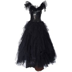 Incredible Vintage David Fielden 80s Black Silk Sequin Tulle British Ball Gown