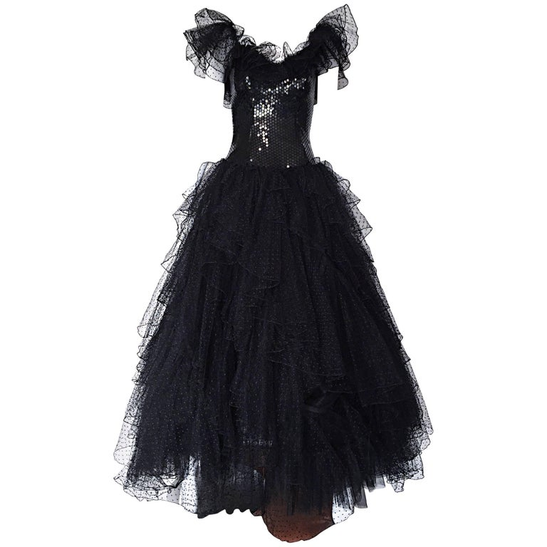 Incredible Vintage David Fielden 80s Black Silk Sequin Tulle British Ball Gown  For Sale